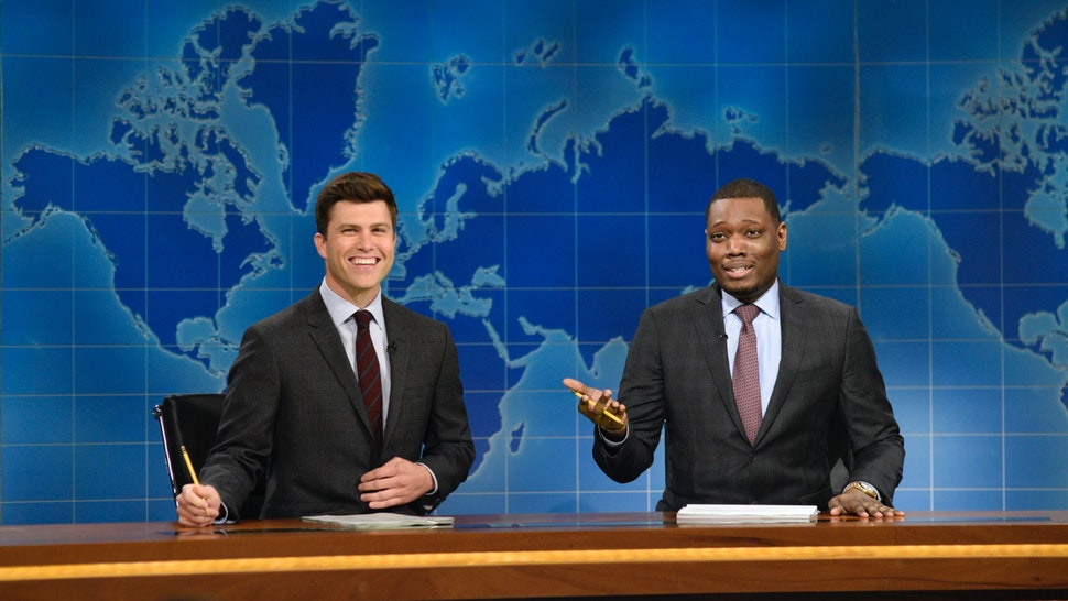 Colin Jost, Michael Che from Studio 8H on August 10, 2017.