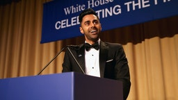Host, comedian Hasan Minhaj speaks on stage during 2017 White House Correspondents' Association Dinner at Washington Hilton on April 29, 2017 in Washington, DC.