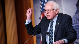 Senator Bernie Sanders, I-VT, speaks after the Senate voted to withdraw support for Saudi Arabia's war in Yemen, in the Senate TV studio at the US Capitol in Washington, DC on December 13, 2018.