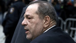 Harvey Weinstein, former co-chairman of the Weinstein Co., departs state supreme court in New York, U.S., on Thursday, Feb. 20, 2020.