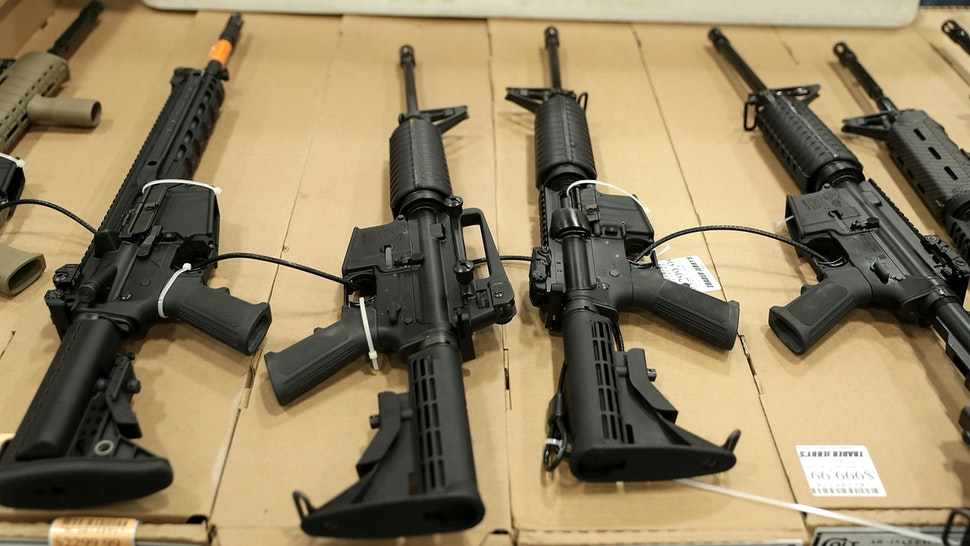 CHANTILLY, VA - NOVEMBER 18: Guns are on display during the Nation's Gun Show on November 18, 2016 at Dulles Expo Center in Chantilly, Virginia. The show is one of the largest in the area.