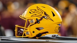 TEMPE, AZ - NOVEMBER 23: An Arizona State Sun Devils helmet during the college football game between the Oregon Ducks and the Arizona State Sun Devils on November 23, 2019 at Sun Devil Stadium in Tempe, Arizona.