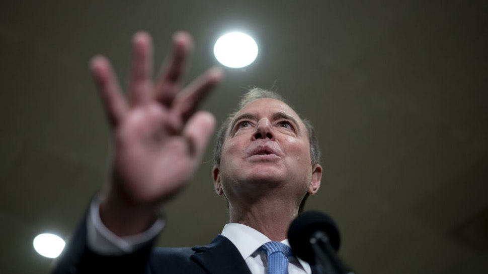 Representative Adam Schiff, a Democrat from California, speaks during a news conference in the Senate Subway of the U.S. Capitol in Washington, D.C., U.S., on Thursday, Jan. 30, 2020. Democrats face dwindling chances to get testimony from former National Security Adviser John Bolton and others in the Senate impeachment trial as the pool of Republicans willing to even consider defying President Donald Trump keeps shrinking. Photographer: Andrew Harrer/Bloomberg