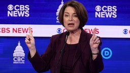 CHARLESTON, SOUTH CAROLINA - FEBRUARY 25: Sen. Amy Klobuchar (D-MN) speaks during the Democratic presidential primary debate at the Charleston Gaillard Center on February 25, 2020 in Charleston, South Carolina. Seven candidates qualified for the debate, hosted by CBS News and Congressional Black Caucus Institute, ahead of South Carolina's primary in four days.