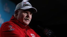 Head coach Andy Reid of the Kansas City Chiefs talks to press after defeating San Francisco 49ers by 31 - 20 in Super Bowl LIV at Hard Rock Stadium on February 02, 2020 in Miami, Florida. (Photo by Maddie Meyer/Getty Images)