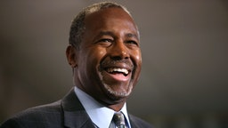 LAKEWOOD, CO - OCTOBER 29: Republican presidential candidate Ben Carson speaks during a news conference before a campaign event at Colorado Christian University on October 29, 2015 in Lakewood, Colorado. Ben Carson was back on the campaign trail a day after the third republican debate held at the University of Colorado Boulder.
