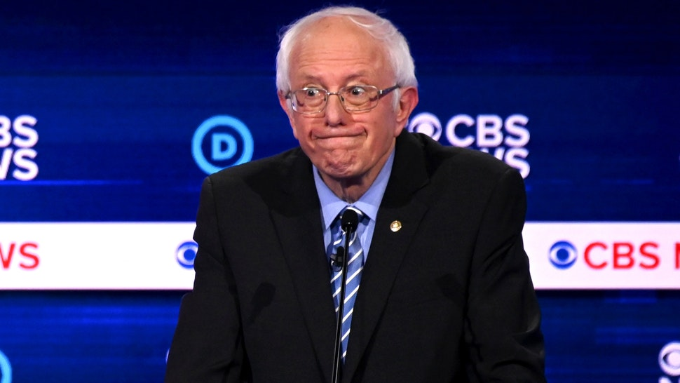 Democratic presidential hopeful Vermont Senator Bernie Sanders participates in the tenth Democratic primary debate of the 2020 presidential campaign season co-hosted by CBS News and the Congressional Black Caucus Institute at the Gaillard Center in Charleston, South Carolina, on February 25, 2020.