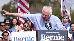 Democratic presidential hopeful Vermont Senator Bernie Sanders gestures as he speaks during a rally at Valley High School in Santa Ana, California, February 21, 2020.