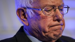 """CHARLESTON, SC - FEBRUARY 24: Democratic presidential candidate Sen. Bernie Sanders (I-VT) pauses while speaking at the South Carolina Democratic Party """"First in the South"""" dinner on February 24, 2020 in Charleston, South Carolina. South Carolina holds its Democratic presidential primary on Saturday, February 29."""