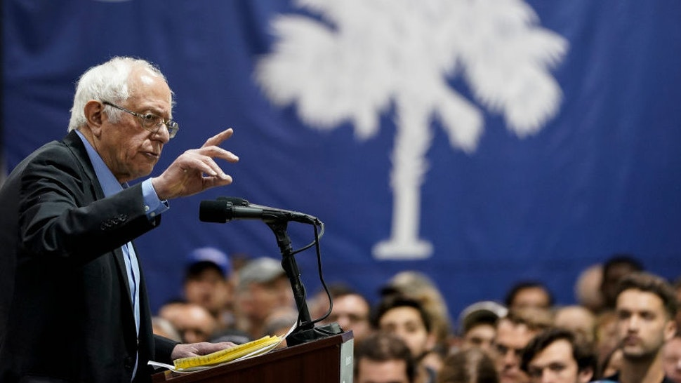 Democratic presidential candidate Sen. Bernie Sanders (I-VT) speaks during a campaign rally at the Charleston Area Convention Center on February 26, 2020 in North Charleston, South Carolina. South Carolina holds its Democratic presidential primary on Saturday, February 29. (Photo by Drew Angerer/Getty Images)