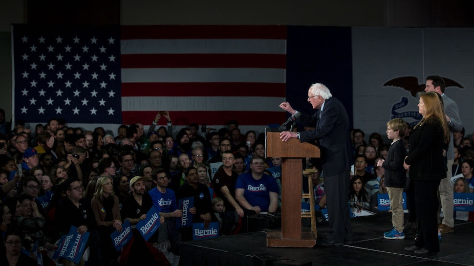 Senator Bernie Sanders, an independent from Vermont and 2020 presidential candidate, speaks during a caucus night watch party in Des Moines, Iowa, U.S. on Monday, Feb. 3, 2020. Iowa Democrats prepared to pack firehouses, schools and community centers across the state Monday night to give the first read in the race to challenge PresidentDonald Trumpin November. Photographer: Al Drago/Bloomberg