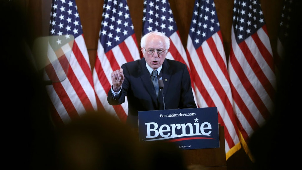 Democratic presidential candidate Sen. Bernie Sanders (I-VT) speaks during a State of the Union Response on February 04, 2020 in Manchester, New Hampshire. Sanders was responding to the State of the Union speech given by President Donald Trump at the U.S. Capitol. (Photo by Joe Raedle/Getty Images)