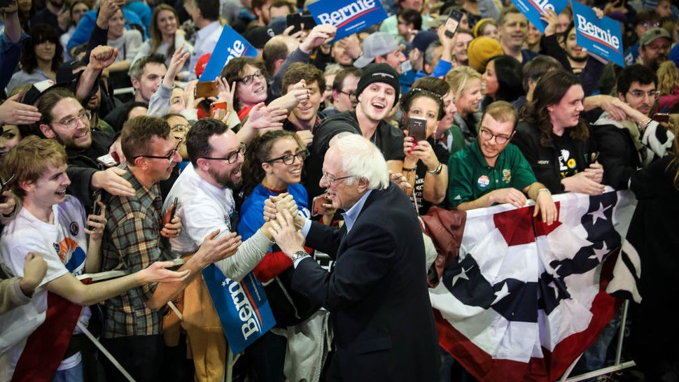 Democratic presidential candidate Sen. Bernie Sanders (I-VT) greets the crowd after speaking to a large group of supporters at a rally in the Colorado Convention Center on February 16, 2020 in Denver, Colorado. (Photo by Marc Piscotty/Getty Images)