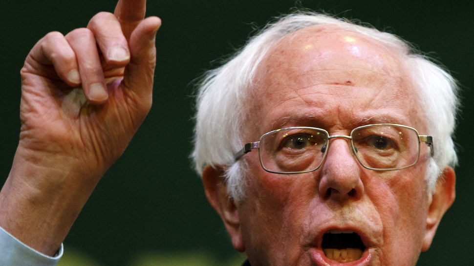 INDIANOLA, IA - FEBRUARY 1: Democratic presidential candidate Sen. Bernie Sanders (I-VT) delivers remarks during a campaign event at Simpson College on February 1, 2020, in Indianola, Iowa. Senator Sanders held the event days ahead of the Iowa Caucuses.