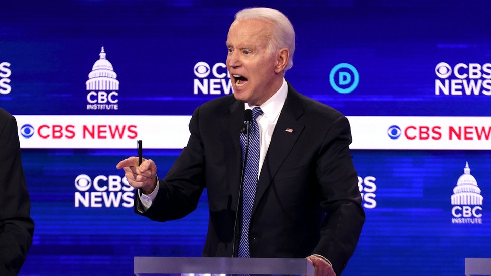 CHARLESTON, SOUTH CAROLINA - FEBRUARY 25: Democratic presidential candidate former Vice President Joe Biden speaks during the Democratic presidential primary debate at the Charleston Gaillard Center on February 25, 2020 in Charleston, South Carolina. Seven candidates qualified for the debate, hosted by CBS News and Congressional Black Caucus Institute, ahead of South Carolina's primary in four days.
