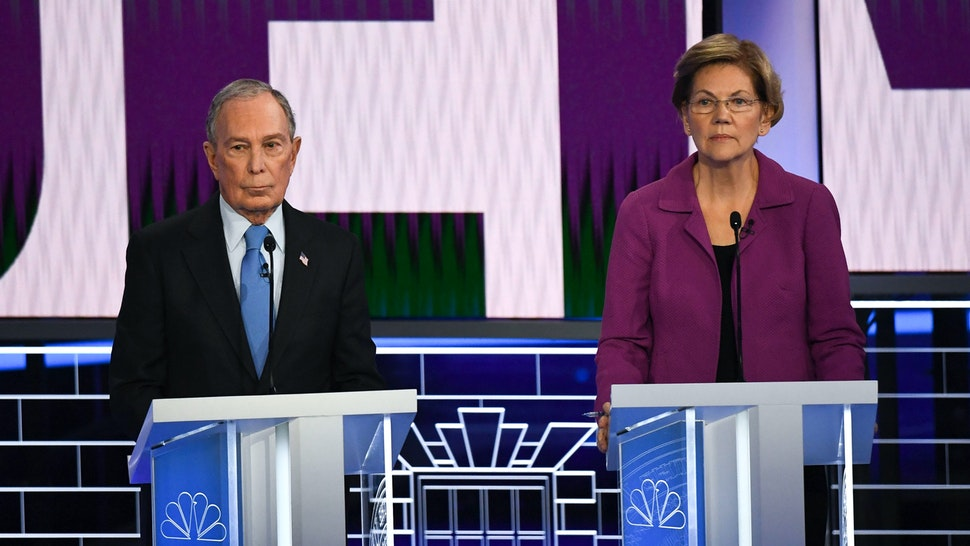 Democratic presidential hopefuls Former New York Mayor Mike Bloomberg ans Massachusetts Senator Elizabeth Warrenget ready for the ninth Democratic primary debate of the 2020 presidential campaign season co-hosted by NBC News, MSNBC, Noticias Telemundo and The Nevada Independent at the Paris Theater in Las Vegas, Nevada, on February 19, 2020.