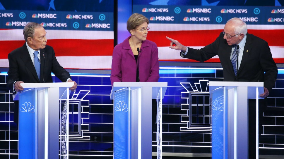 LAS VEGAS, NEVADA - FEBRUARY 19: Democratic presidential candidate Sen. Bernie Sanders (I-VT) makes a point as Sen. Elizabeth Warren (D-MA) and former New York City mayor Mike Bloomberg listen during the Democratic presidential primary debate at Paris Las Vegas on February 19, 2020 in Las Vegas, Nevada. Six candidates qualified for the third Democratic presidential primary debate of 2020, which comes just days before the Nevada caucuses on February 22.
