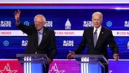 Democratic presidential candidates Sen. Bernie Sanders (I-VT) and former Vice President Joe Biden participate in the Democratic presidential primary debate at the Charleston Gaillard Center on February 25, 2020 in Charleston, South Carolina.