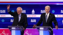 Democratic presidential candidates Sen. Bernie Sanders (I-VT) and former Vice President Joe Biden participate in the Democratic presidential primary debate at the Charleston Gaillard Center on February 25, 2020 in Charleston, South Carolina.