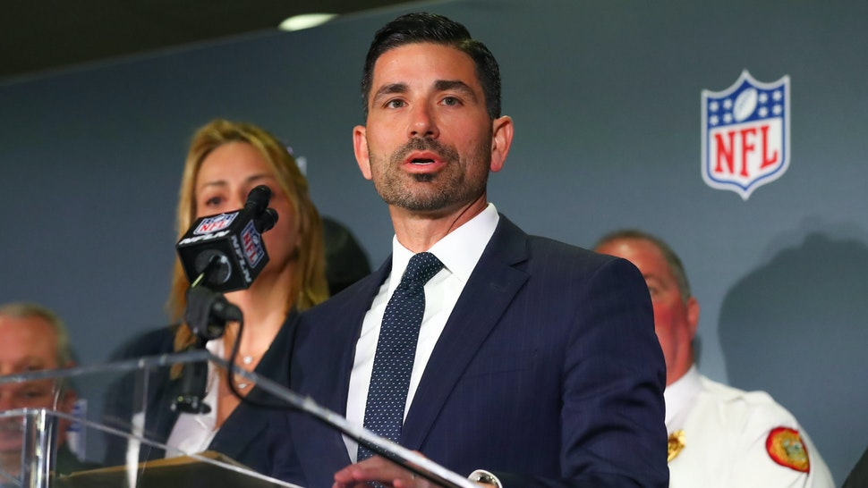 MIAMI, FL - JANUARY 29: Chad Wolf the acting Secretary of Homeland Security speaks during the Super Bowl LIV Public Safety Press Conference on January 29, 2020 at the Hilton Miami downtown in Miami, FL.