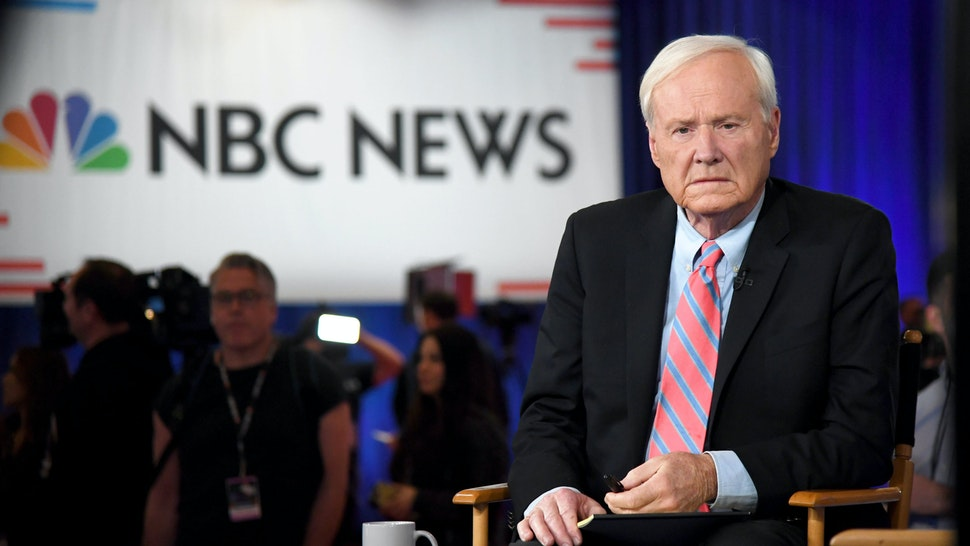 LAS VEGAS, NEVADA - FEBRUARY 19: Chris Matthews of MSNBC waits to go on the air inside the spin room at Bally's Las Vegas Hotel & Casino after the Democratic presidential primary debate on February 19, 2020 in Las Vegas, Nevada. Six candidates qualified for the third Democratic presidential primary debate of 2020, which comes just days before the Nevada caucuses on February 22.