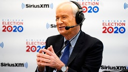 MANCHESTER, NEW HAMPSHIRE - FEBRUARY 11: Chris Matthews of MSNBC reacts while talking with Sirius XM Press Pool host Julie Mason about the 2020 New Hampshire Democratic Primary in the Coolidge Room at the DoubleTree by Hilton on February 11, 2020 in Manchester, New Hampshire.