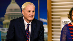 """MEET THE PRESS -- Pictured: (l-r) ? Chris Matthews, Host, MSNBC?s ?Hardball? and Helene Cooper, Pentagon Correspondent, The New York Times appear on """"Meet the Press"""" in Washington, D.C., Sunday, April 30, 2017."""