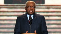CHARLOTTE, NC - SEPTEMBER 06: Assistant Democratic Leader, U.S. Rep. James E. Clyburn (D-SC) speaks on stage during the final day of the Democratic National Convention at Time Warner Cable Arena on September 6, 2012 in Charlotte, North Carolina. The DNC, which concludes today, nominated U.S. President Barack Obama as the Democratic presidential candidate.