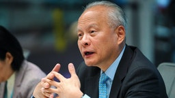 Cui Tiankai, China's ambassador to the U.S., speaks during an interview in New York, U.S., on Friday, May 24, 2019. Tiankai discussed U.S. President Donald Trump's blacklisting of Huawei Technologies Inc. and the breakdown of U.S.-China trade talks.