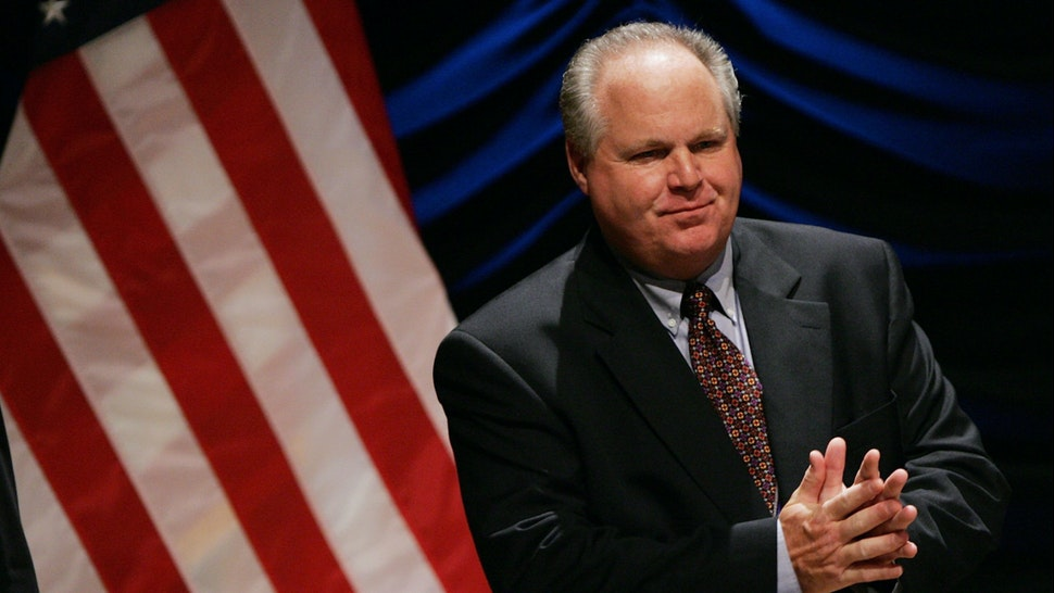 "Radio personality Rush Limbaugh interacts with the audience before the start of a panel discussion ""'24' and America's Image in Fighting Terrorism: Fact, Fiction, or Does It Matter?"", June 23, 2006 in Washington, DC."