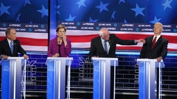 LAS VEGAS, NEVADA - FEBRUARY 19: Democratic presidential candidate Sen. Bernie Sanders (I-VT) (R) makes a point as Sen. Elizabeth Warren (D-MA), former New York City mayor Mike Bloomberg(L) and former Vice President Joe Biden (R) listen during the Democratic presidential primary debate at Paris Las Vegas on February 19, 2020 in Las Vegas, Nevada. Six candidates qualified for the third Democratic presidential primary debate of 2020, which comes just days before the Nevada caucuses on February 22.