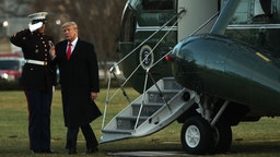 """U.S. President Donald Trump gets off from the Marine One after he landed at the South Lawn of the White House February 7, 2020 in Washington, DC. President Trump has returned from speaking at a """"North Carolina Opportunity Now"""" summit in Charlotte, North Carolina. (Photo by Alex Wong/Getty Images)"""