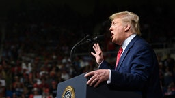 US President Donald Trump delivers remarks at a Keep America Great Rally in Phoenix, AZ, on February 19, 2020. (Photo by JIM WATSON / AFP)