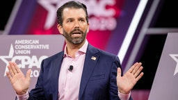 Donald Trump Jr., son of President Donald Trump, speaks on stage during the Conservative Political Action Conference 2020 (CPAC) hosted by the American Conservative Union on February 28, 2020 in National Harbor, MD. (Photo by Samuel Corum/Getty Images)