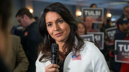 PORTSMOUTH, NH - FEBRUARY 09: Democratic presidential candidate Rep. Tulsi Gabbard (D-HI) answers media questions following a campaign event on February 9, 2020 in Portsmouth, New Hampshire. The first in the nation primary is on Tuesday, February 11.