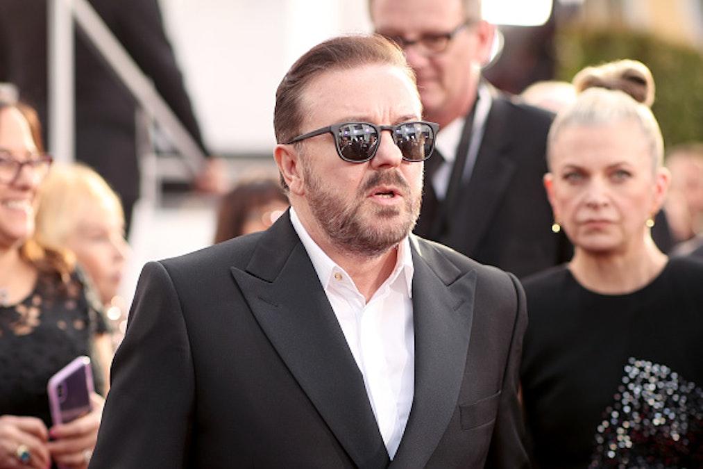 WATCH: Ricky Gervais Trolls Natalie Portman's Feminist Oscar Dress