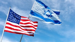 United States and Israel flags, Jerusalem, Israel