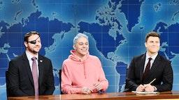 "Congressman-elect & Navy Veteran Dan Crenshaw, Pete Davidson, and Anchor Colin Jost during ""Weekend Update"" in Studio 8H on Saturday, November 10, 2018"
