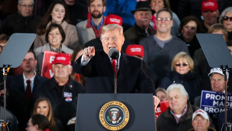 President Donald Trump speaks during a rally at the Tupelo Regional Airport, November 26, 2018 in Tupelo, Mississippi.