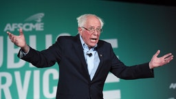 Democratic presidential candidate and U.S. Sen. Bernie Sanders (I-VT) speaks during the 2020 Public Service Forum hosted by the American Federation of State, County and Municipal Employees (AFSCME) at UNLV on August 3, 2019 in Las Vegas, Nevada.