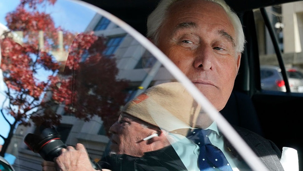Former advisor to U.S. President Donald Trump, Roger Stone, departs the E. Barrett Prettyman United States Courthouse after being found guilty of obstructing a congressional investigation into Russia's interference in the 2016 election on November 15, 2019 in Washington, DC.
