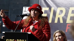 """Abigail Disney speaks during """"Fire Drill Friday"""" climate change protest on November 15, 2019 in Washington, DC."""