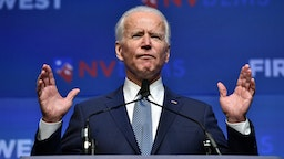 "LAS VEGAS, NEVADA - NOVEMBER 17: Democratic presidential candidate, former U.S Vice President Joe Biden speaks during the Nevada Democrats' ""First in the West"" event at Bellagio Resort & Casino on November 17, 2019 in Las Vegas, Nevada. The Nevada Democratic presidential caucuses is scheduled for February 22, 2020. (Photo by David Becker/Getty Images)"