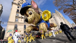 NEW YORK, NEW YORK - NOVEMBER 28: The Paw Patrol balloon balloon floats low down the parade route during the 93rd Annual Macy's Thanksgiving Day Parade on November 28, 2019 in New York City. (Photo by Michael Loccisano/Getty Images)