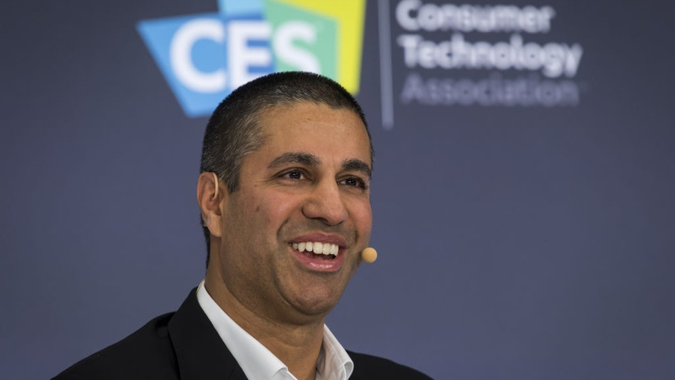 Ajit Pai, chairman of the Federal Communications Commission (FCC), speaks during a panel discussion at CES 2020 in Las Vegas, Nevada, U.S., on Tuesday, Jan. 7, 2020.