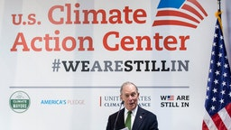 Democratic Presidential candidate and former New York City Mayor Michael Bloomberg speaks at a conference during the COP25 Climate Summit on December 10, 2019 in Madrid, Spain.