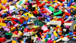Pieces of lego displayed during the exhibition at Alexandra Palace in north London.