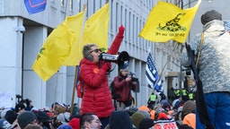 Thousands of gun owners rallied outside of the capitol in Richmond, Virginia, US, on 20 January 2020 to protest new legislation as the Democratic Party retakes power in the state.