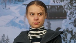 Greta Thunberg, climate activist, reacts during a news conference on the closing day of the World Economic Forum (WEF) in Davos, Switzerland, on Friday, Jan. 24, 2020.