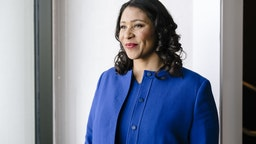 London Breed, mayor of San Francisco, stands for a photograph following a Bloomberg radio interview in San Francisco, California, U.S., on Tuesday, Feb. 5, 2020.